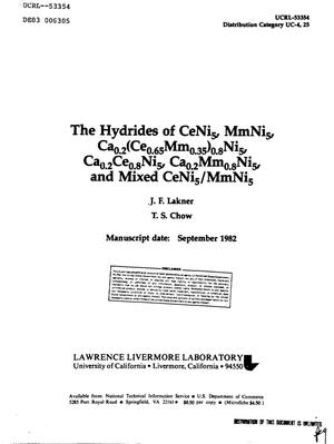 Primary view of object titled 'Hydrides of CeNi/sub 5/, MmNi/sub 5/, Ca/sub 0/ /sub 2/(Ce/sub 0/ /sub 65/Mm/sub 0/ /sub 35/)/sub 0/ /sub 8/Ni/sub 5/, Ca/sub 0/ /sub 2/Ce/sub 0/ /sub 8/Ni/sub 5/, Ca/sub 0/ /sub 2/Mm/sub 0/ /sub 8/Ni/sub 5/, and mixed CeNi/sub 5//MmNi/sub 5/'.