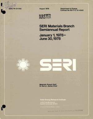 Primary view of object titled 'SERI Materials Branch semiannual report, January 1, 1978--June 30, 1978'.