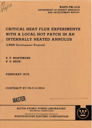 Primary view of object titled 'Critical heat flux experiments with a local hot patch in an internally heated annulus (LWBR development program)'.