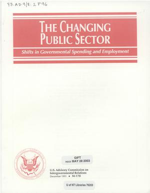 Primary view of object titled 'The changing public sector : shifts in governmental spending and employment'.