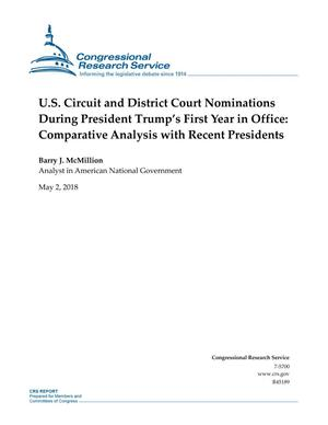 Primary view of object titled 'U.S. Circuit and District Court Nominations During President Trump's First Year in Office: Comparative Analysis with Recent Presidents'.