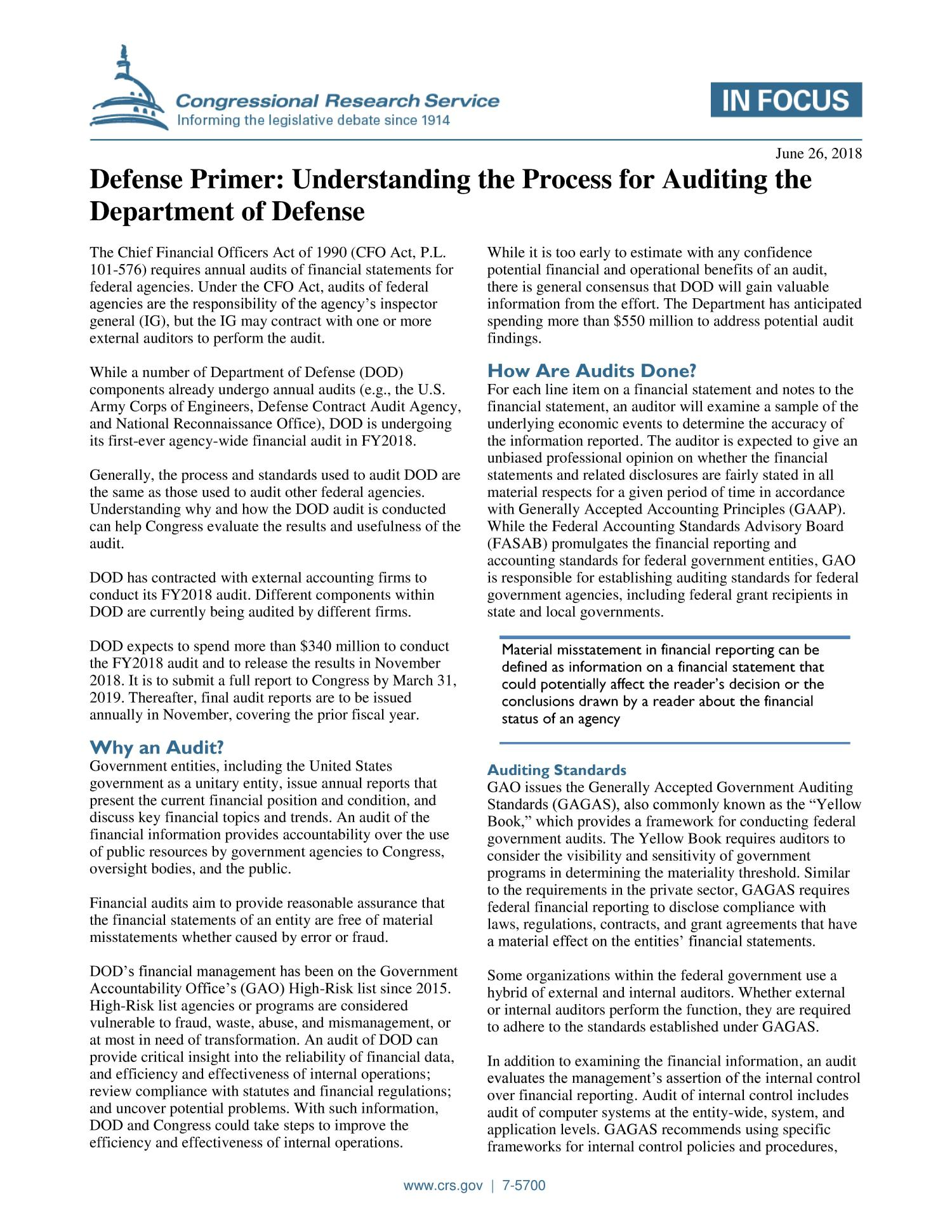 Defense Primer: Understanding the Process for Auditing the Department of Defense                                                                                                      [Sequence #]: 1 of 2