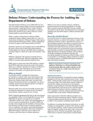 Primary view of object titled 'Defense Primer: Understanding the Process for Auditing the Department of Defense'.