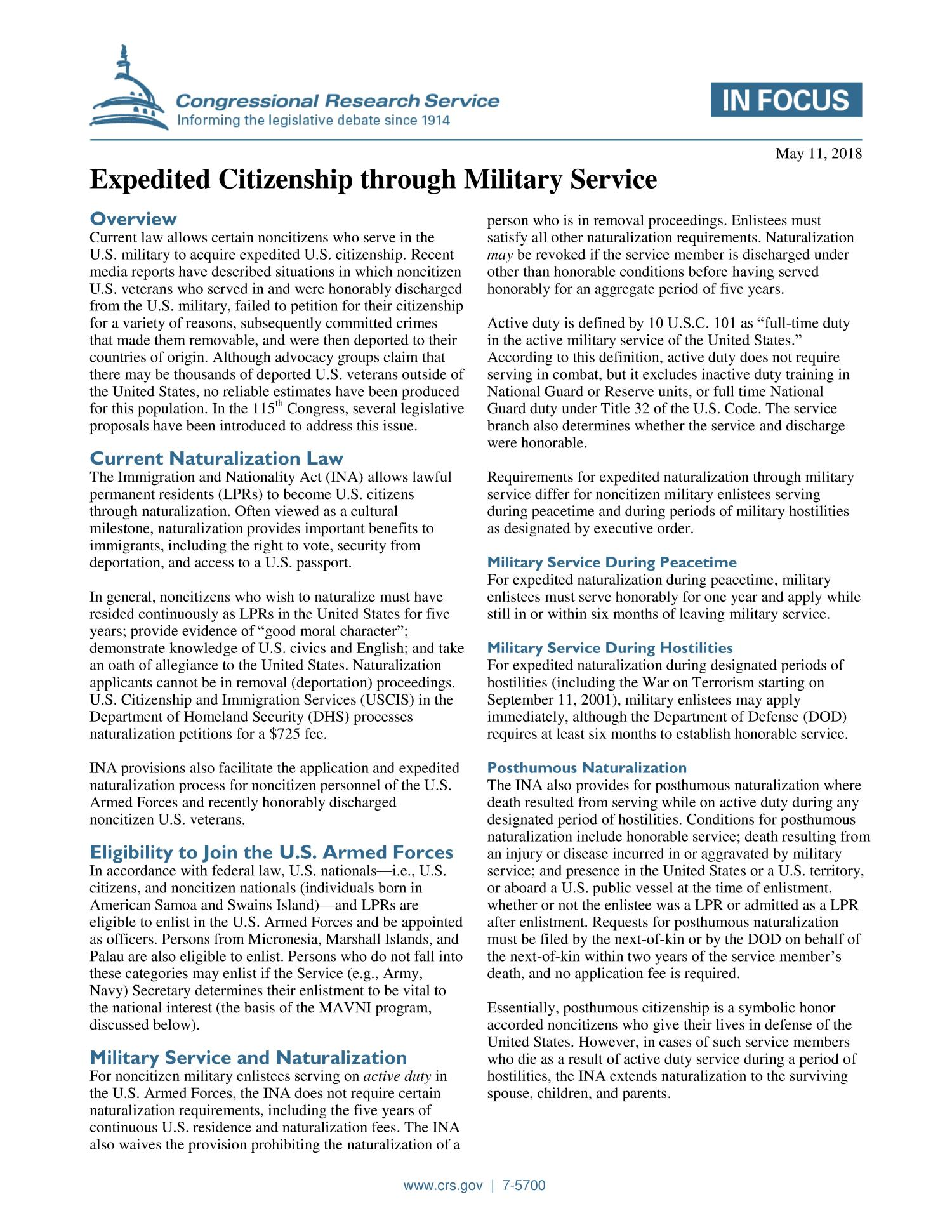 Expedited Citizenship through Military Service - Digital Library