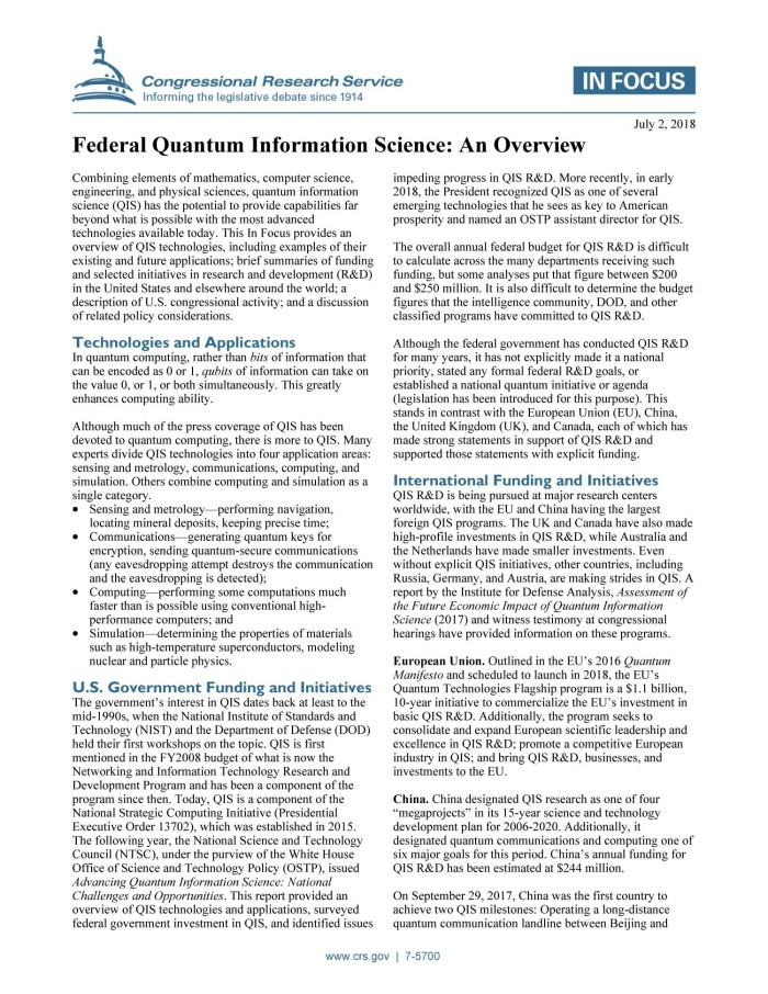 Federal Quantum Information Science: An Overview - Digital