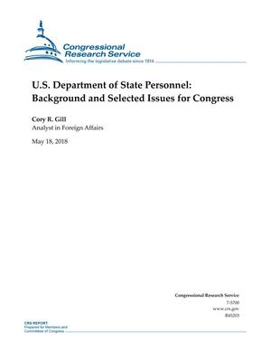 Primary view of object titled 'U.S. Department of State Personnel: Background and Selected Issues for Congress'.