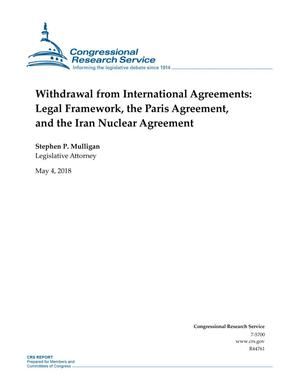 Primary view of object titled 'Withdrawal from International Agreements: Legal Framework, the Paris Agreement, and the Iran Nuclear Agreement'.