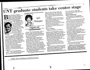 Primary view of object titled '[UNT graduate students take center stage, April 9, 1995]'.