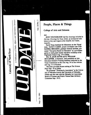 Primary view of object titled '[UNT UPDATE clipping, Vol. 22 No. 2, September 23, 1991]'.