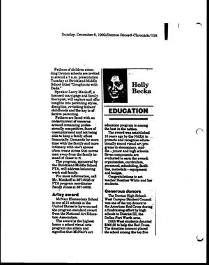 Primary view of object titled '[Denton Record-Chronicle clipping, December 6, 1992]'.