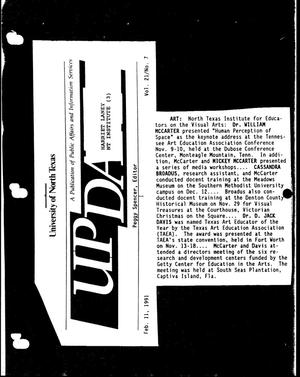 Primary view of object titled '[UNT UPDATE clipping, Vol. 21 No. 7, February 11, 1991]'.