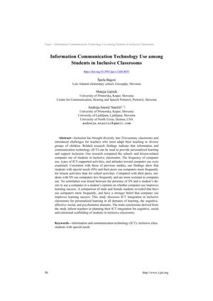 Information Communication Technology Use among Students in Inclusive Classroom