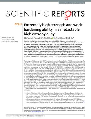 Extremely high strength and work hardening ability in a metastable high entropy alloy