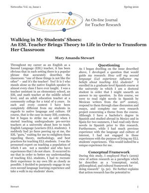 Walking in My Students' Shoes: An ESL Teacher Brings Theory to Life in Order to Transform Her Classroom