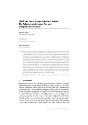 Children's Use of Comparative Text Signals: The Relationship between Age and Comprehension Ability
