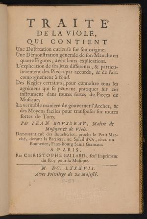 Primary view of Traité de la viole
