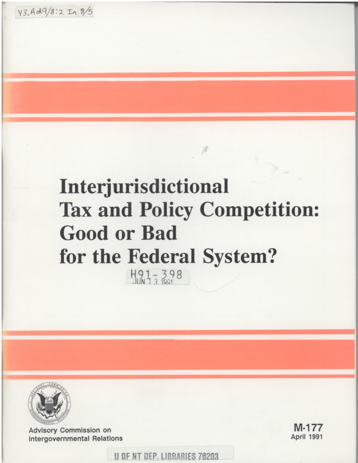 effect of interjurisdictional competition essay The first objective is to provide a brief overview of the two primary theoretical frameworks – tiebout (1956) and models of interjurisdictional competition – used to explore the effects of the decentralization of policy decisions such as taxes, expenditures, environmental standards, etc.