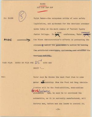 Primary view of object titled '[News Script: Nader]'.