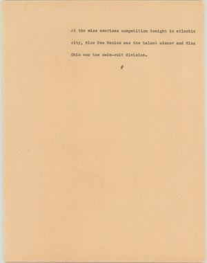 Primary view of object titled '[News Script: Miss America competitions]'.