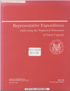 Primary view of object titled 'Representative expenditures : addressing the neglected dimension of fiscal capacity'.