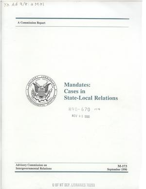 Primary view of object titled 'Mandates, cases in state-local relations'.