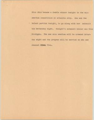 Primary view of object titled '[News Script: Miss Ohio]'.