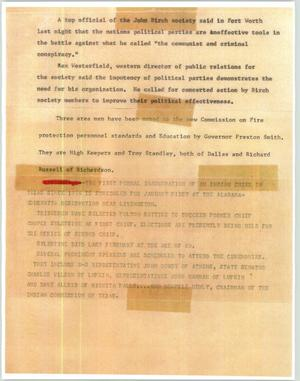 Primary view of object titled '[News Script: Associated Press reports]'.