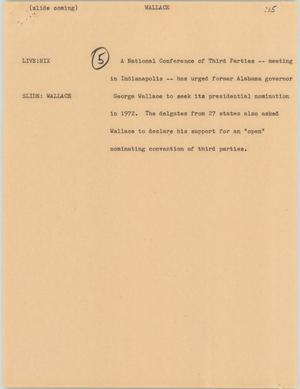 Primary view of object titled '[News Script: Wallace]'.
