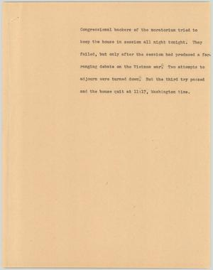 Primary view of object titled '[News Script: Moratorium]'.