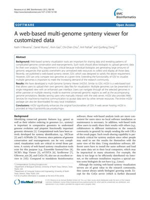 Primary view of object titled 'A web-based multi-genome synteny viewer for customized data'.