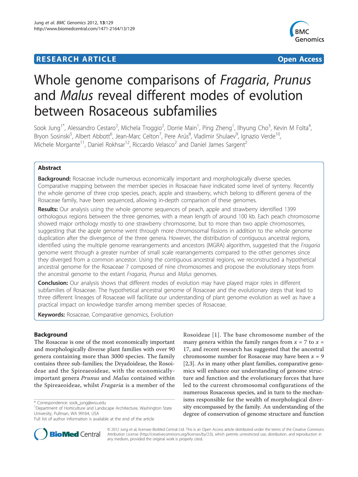 Whole genome comparisons of Fragaria, Prunus and Malus reveal different modes of evolution between Rosaceous subfamilies                                                                                                      1
