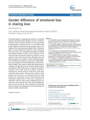 Primary view of object titled 'Gender difference of emotional bias in sharing love'.