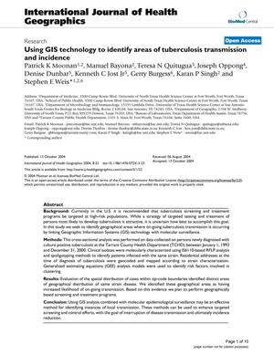 Primary view of object titled 'Using GIS technology to identify areas of tuberculosis transmission and incidence'.