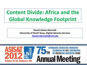 Content Divide: Africa and the Global Knowledge Footprint