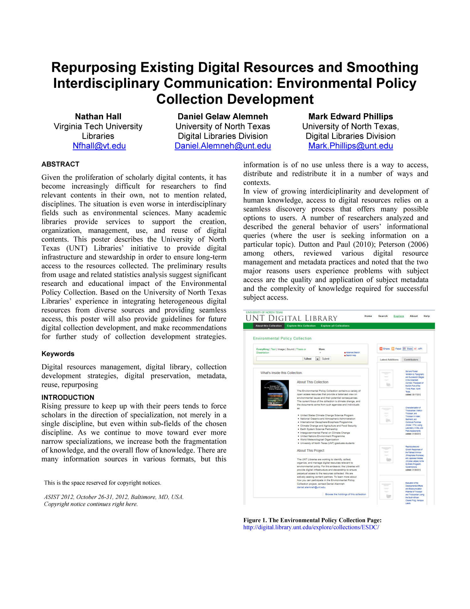 Repurposing Existing Digital Resources and Smoothing Interdisciplinary Communication: Environmental Policy Collection Development                                                                                                      1