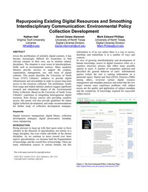 Primary view of object titled 'Repurposing Existing Digital Resources and Smoothing Interdisciplinary Communication: Environmental Policy Collection Development'.