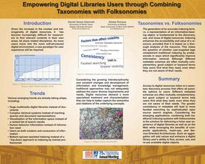 Primary view of object titled 'Empowering Digital Libraries Users through Combining Taxonomies with Folksonomies [Poster]'.