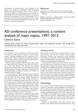 Primary view of object titled 'ASI conference presentations: a content analysis of major topics, 1997-2012'.