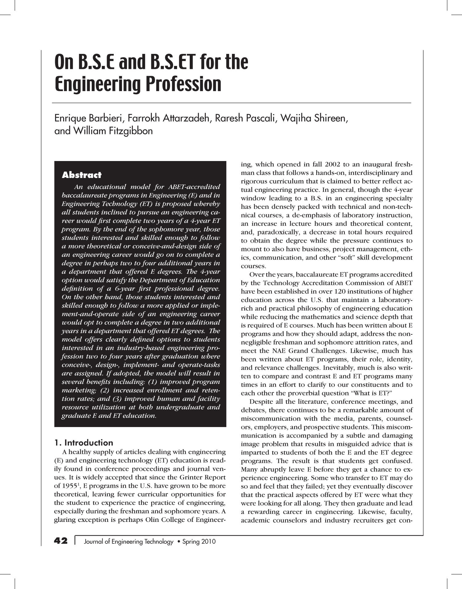 On B.S.E and B.S.ET for the Engineering Profession                                                                                                      42