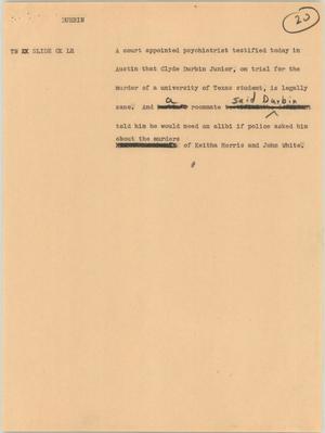 Primary view of [News Script: Durbin]