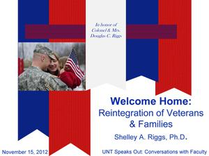 Primary view of object titled 'Welcome Home: Reintegration of Veterans and Families'.