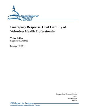 Emergency Response: Civil Liability of Volunteer Health Professionals