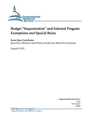 "Budget ""Sequestration"" and Selected Program Exemptions and Special Rules"