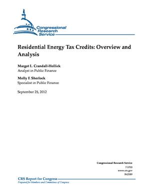 Residential Energy Tax Credits: Overview and Analysis