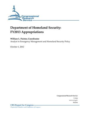 Department of Homeland Security: FY2013 Appropriations