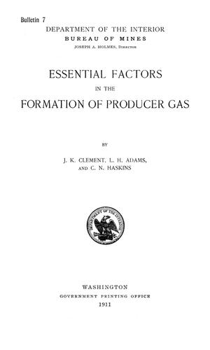 Primary view of object titled 'Essential Factors in the Formation of Producer Gas'.