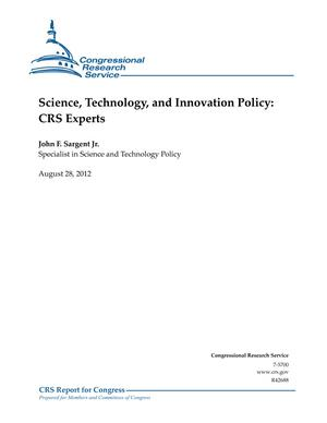 Science, Technology, and Innovation Policy: CRS Experts