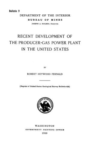 Primary view of object titled 'Recent Development of the Producer-Gas Power Plant in the United States'.