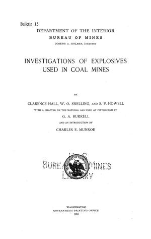 Primary view of object titled 'Investigations of Explosives Used in Coal Mines'.