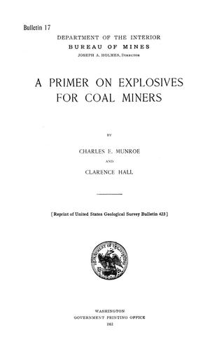 Primary view of object titled 'A Primer on Explosives for Coal Miners'.